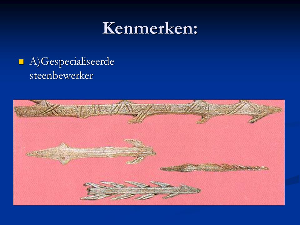Kenmerken: A)Gespecialiseerde steenbewerker