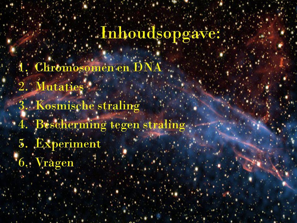Inhoudsopgave: Chromosomen en DNA Mutaties Kosmische straling