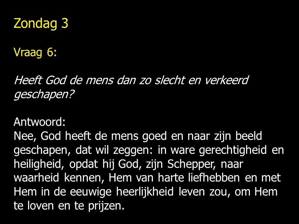 Zondag 3 Vraag 6: Heeft God de mens dan zo slecht en verkeerd geschapen Antwoord: