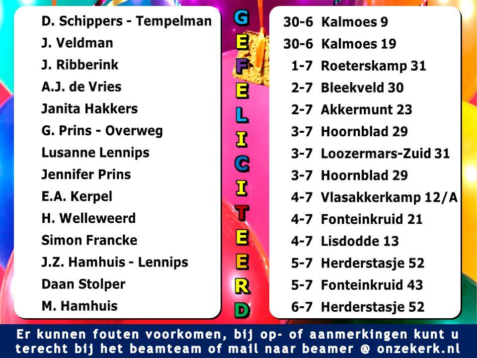 G E F L I C T R D D. Schippers - Tempelman 30-6 Kalmoes 9 J. Veldman