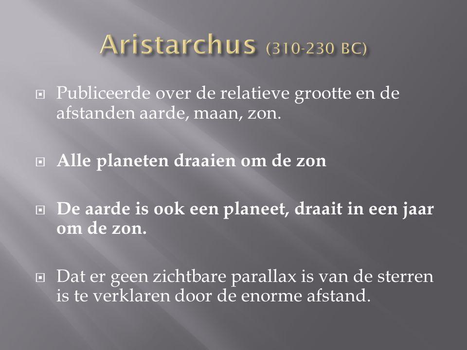 Aristarchus (310-230 BC) Publiceerde over de relatieve grootte en de afstanden aarde, maan, zon. Alle planeten draaien om de zon.