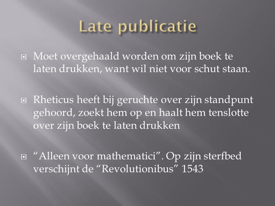 Late publicatie Moet overgehaald worden om zijn boek te laten drukken, want wil niet voor schut staan.