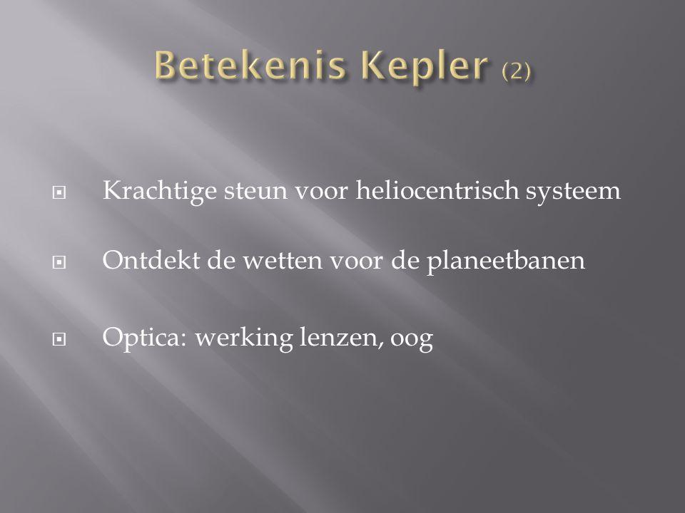 Betekenis Kepler (2) Krachtige steun voor heliocentrisch systeem