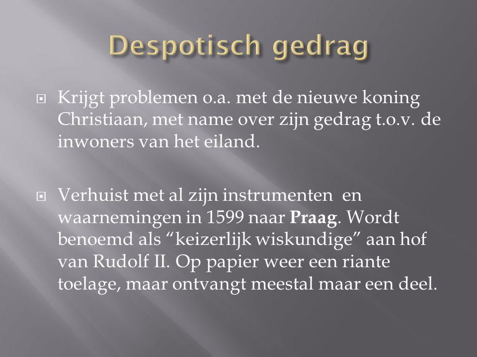 Despotisch gedrag Krijgt problemen o.a. met de nieuwe koning Christiaan, met name over zijn gedrag t.o.v. de inwoners van het eiland.