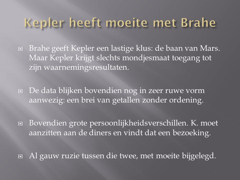 Kepler heeft moeite met Brahe