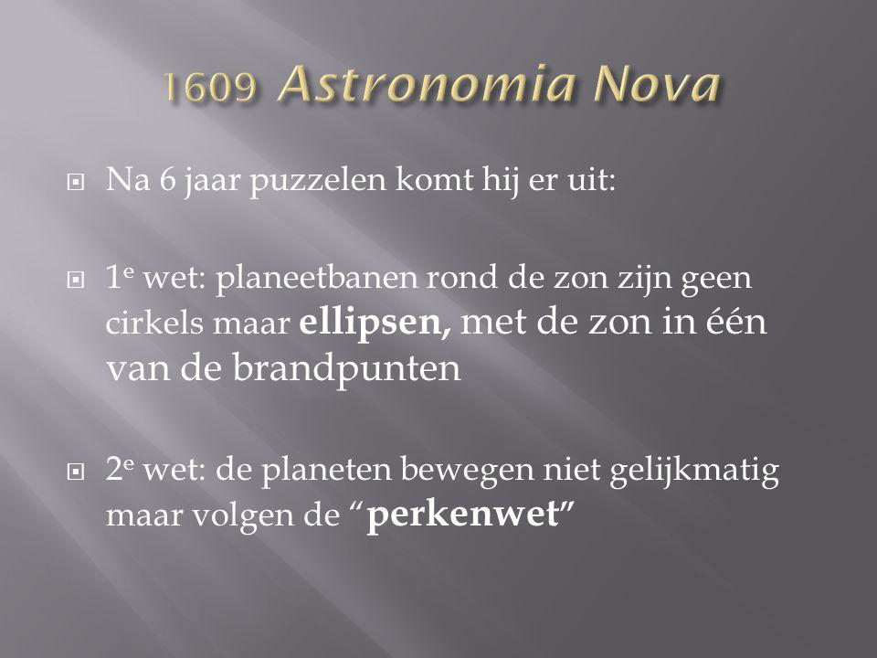 1609 Astronomia Nova Na 6 jaar puzzelen komt hij er uit: