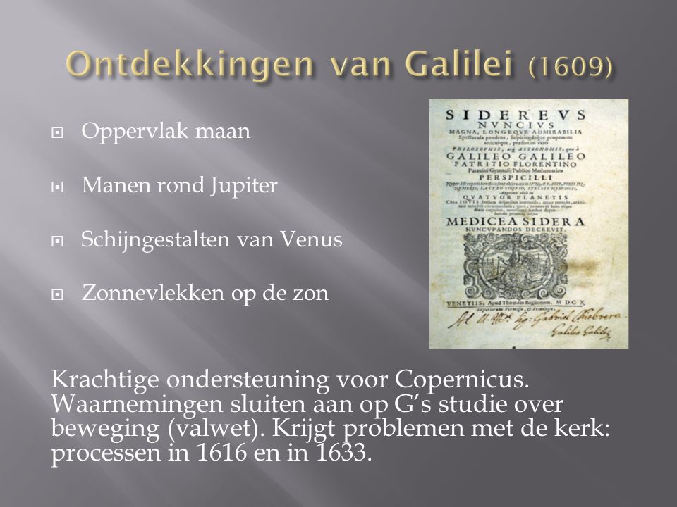 Ontdekkingen van Galilei (1609)