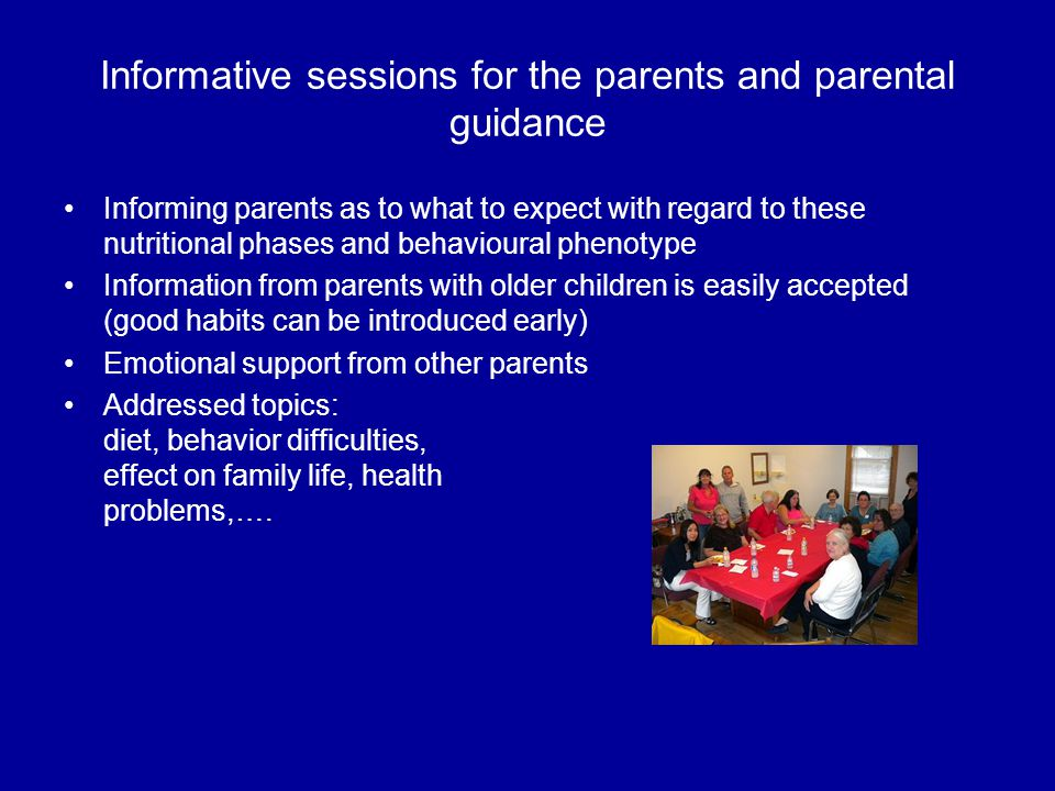 Informative sessions for the parents and parental guidance