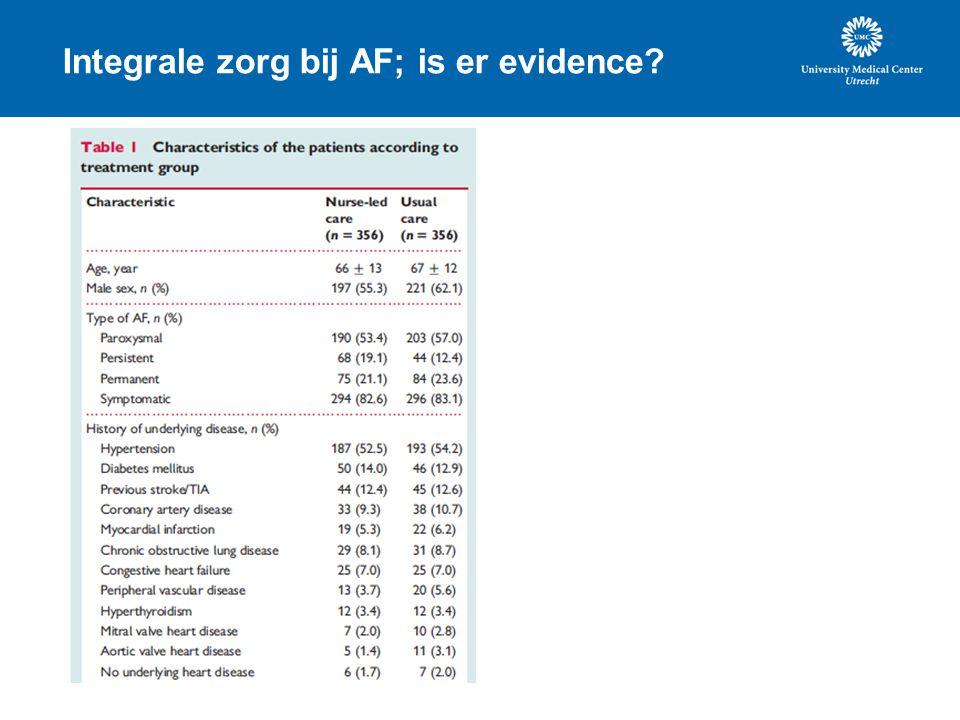 Integrale zorg bij AF; is er evidence