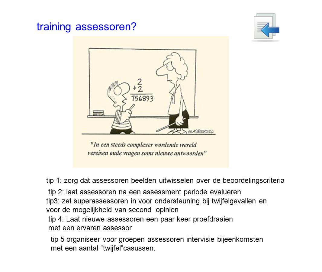 training assessoren tip 1: zorg dat assessoren beelden uitwisselen over de beoordelingscriteria.
