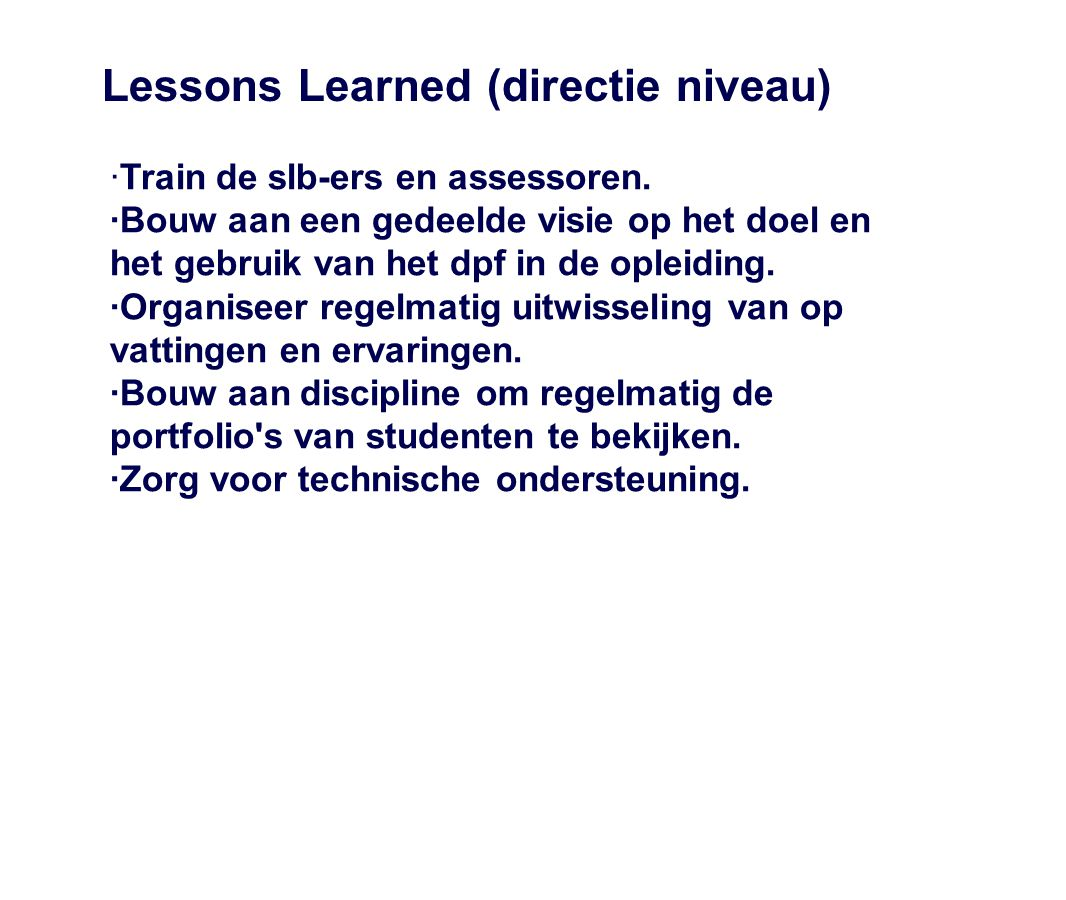 Lessons Learned (directie niveau)