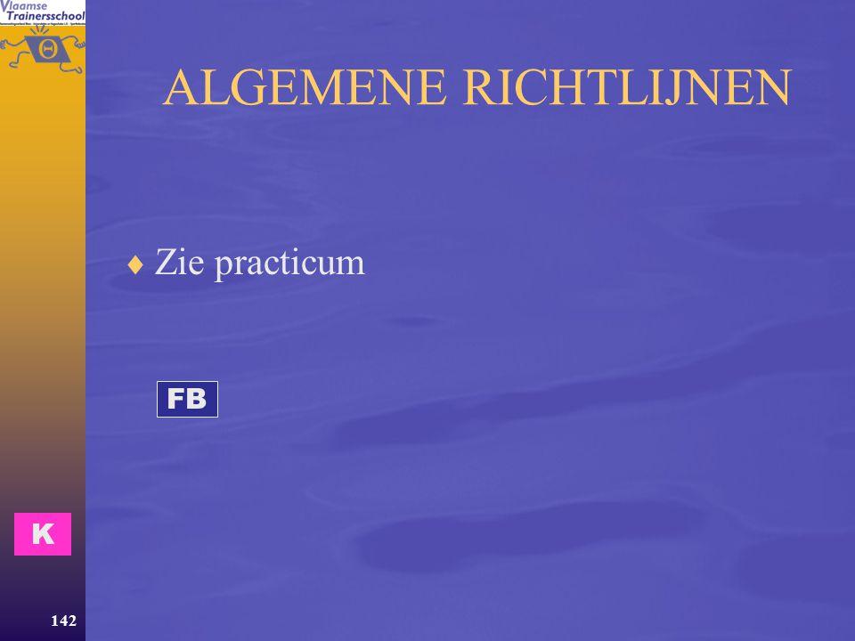 ALGEMENE RICHTLIJNEN Zie practicum FB K