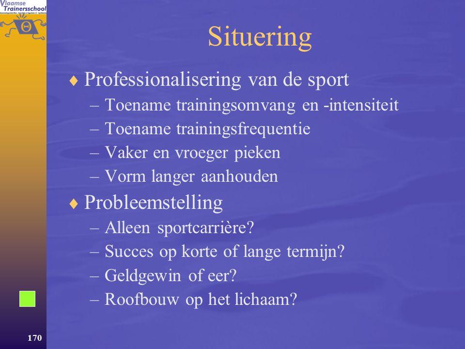 Situering Professionalisering van de sport Probleemstelling