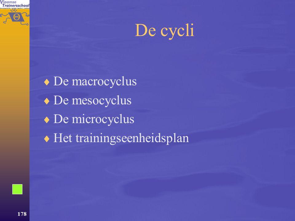 De cycli De macrocyclus De mesocyclus De microcyclus
