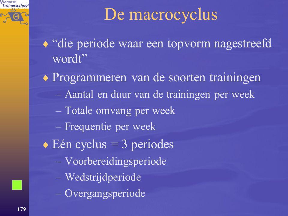 De macrocyclus die periode waar een topvorm nagestreefd wordt