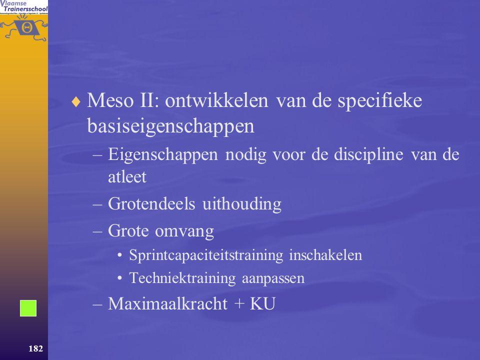 Meso II: ontwikkelen van de specifieke basiseigenschappen