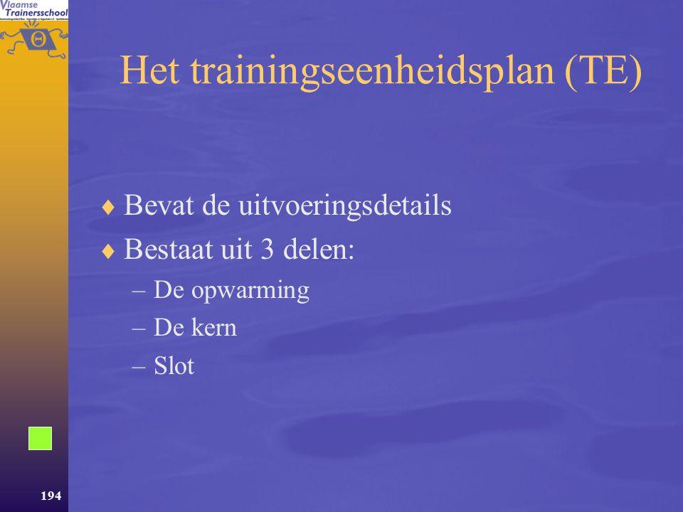 Het trainingseenheidsplan (TE)