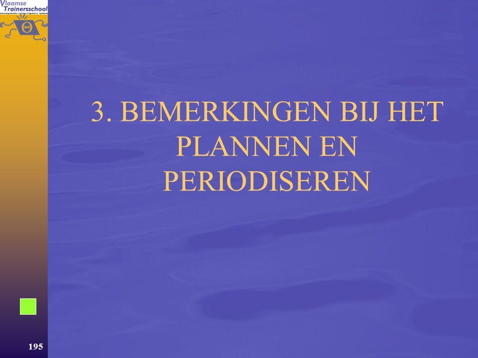 3. BEMERKINGEN BIJ HET PLANNEN EN PERIODISEREN