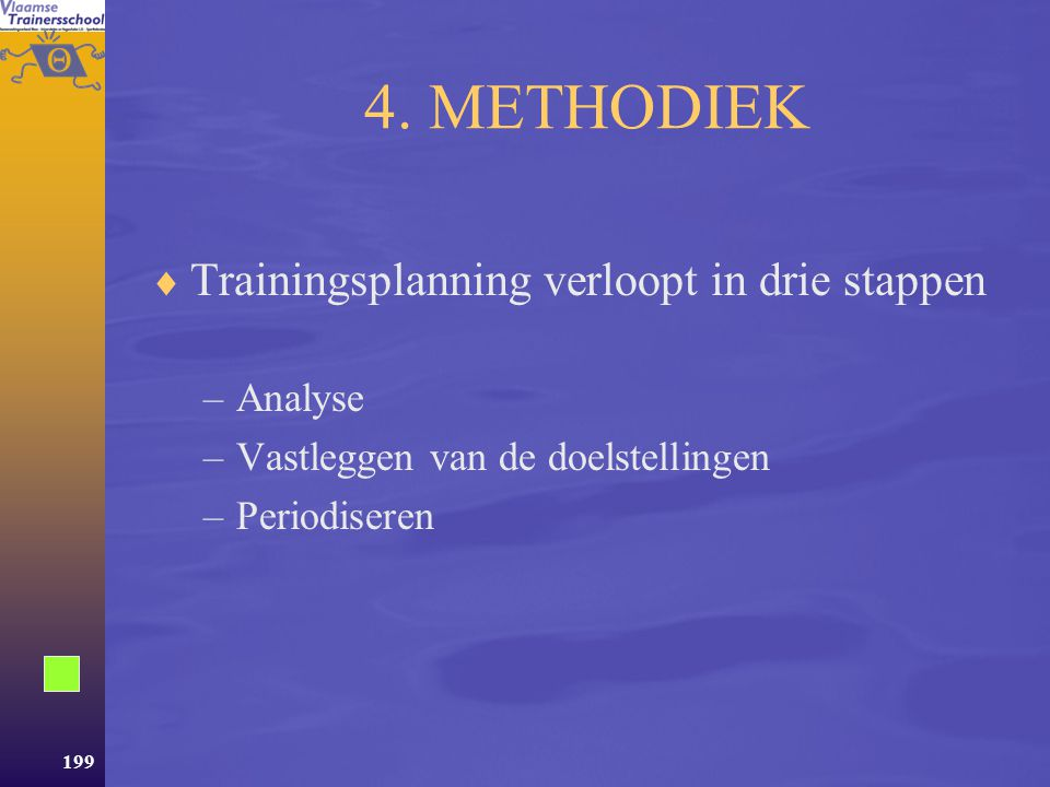 4. METHODIEK Trainingsplanning verloopt in drie stappen Analyse