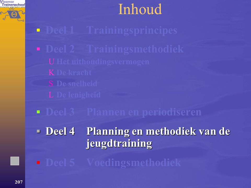 Inhoud Deel 1 Trainingsprincipes Deel 2 Trainingsmethodiek