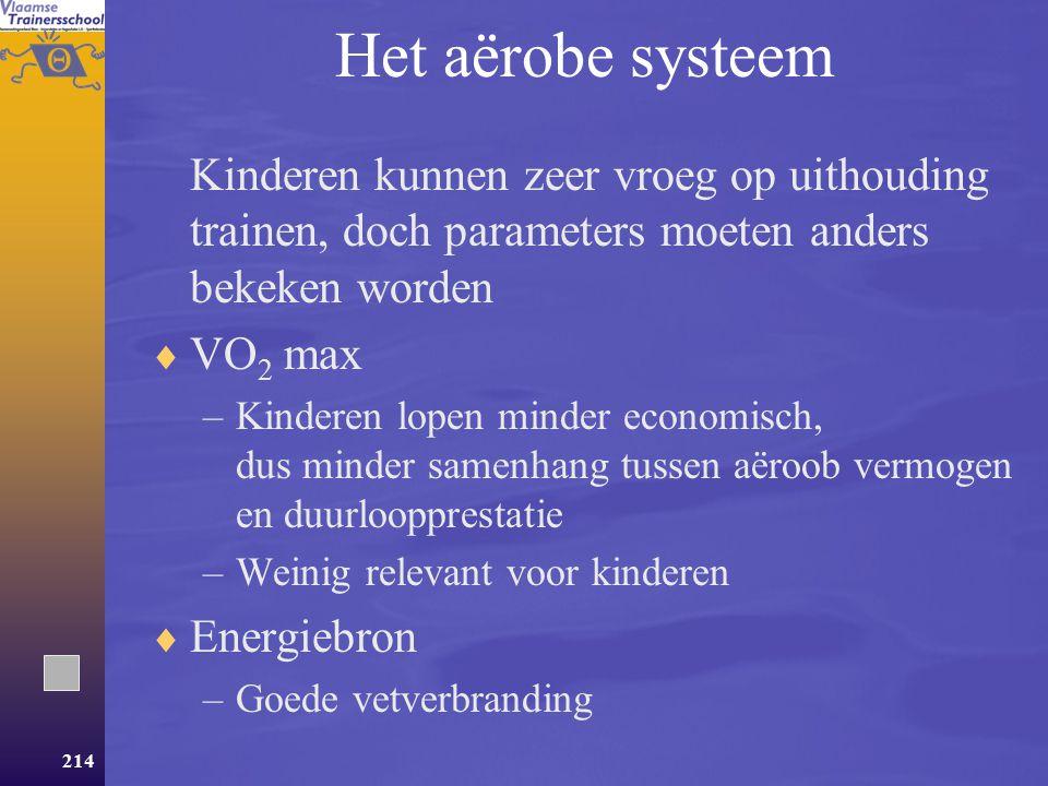 Het aërobe systeem Kinderen kunnen zeer vroeg op uithouding trainen, doch parameters moeten anders bekeken worden.