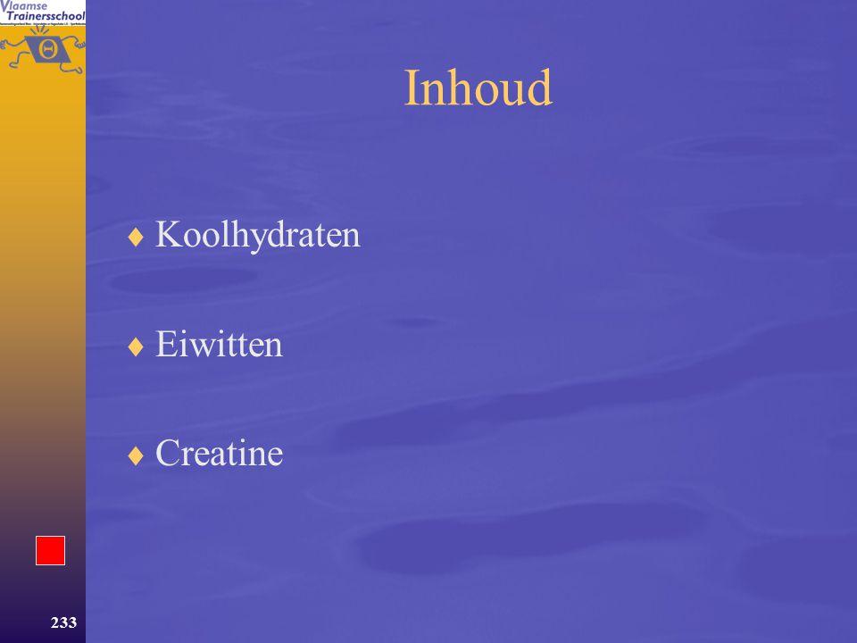 Inhoud Koolhydraten Eiwitten Creatine