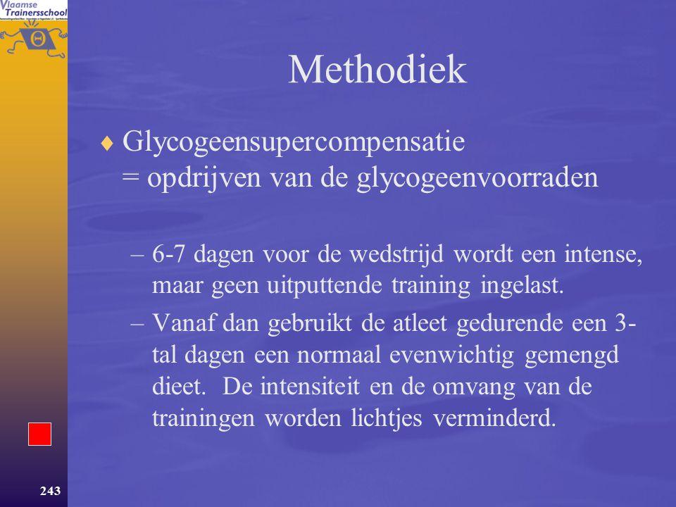 Methodiek Glycogeensupercompensatie = opdrijven van de glycogeenvoorraden.