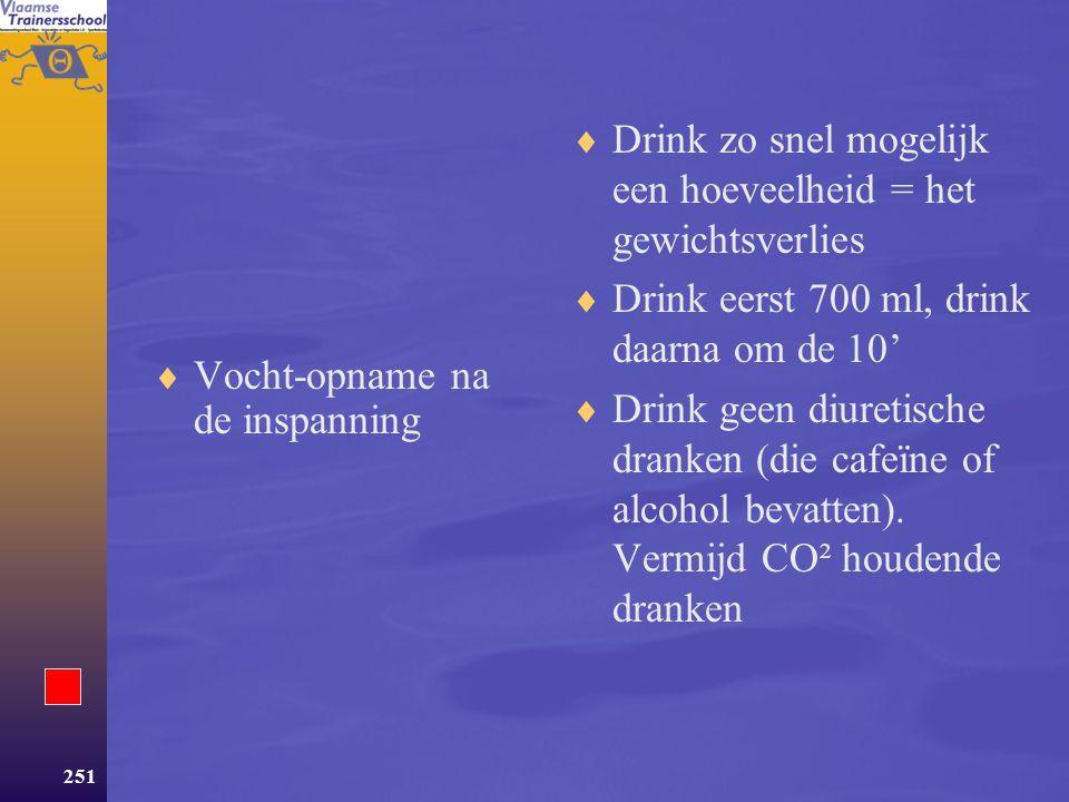 Drink zo snel mogelijk een hoeveelheid = het gewichtsverlies