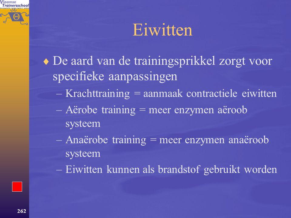Eiwitten De aard van de trainingsprikkel zorgt voor specifieke aanpassingen. Krachttraining = aanmaak contractiele eiwitten.