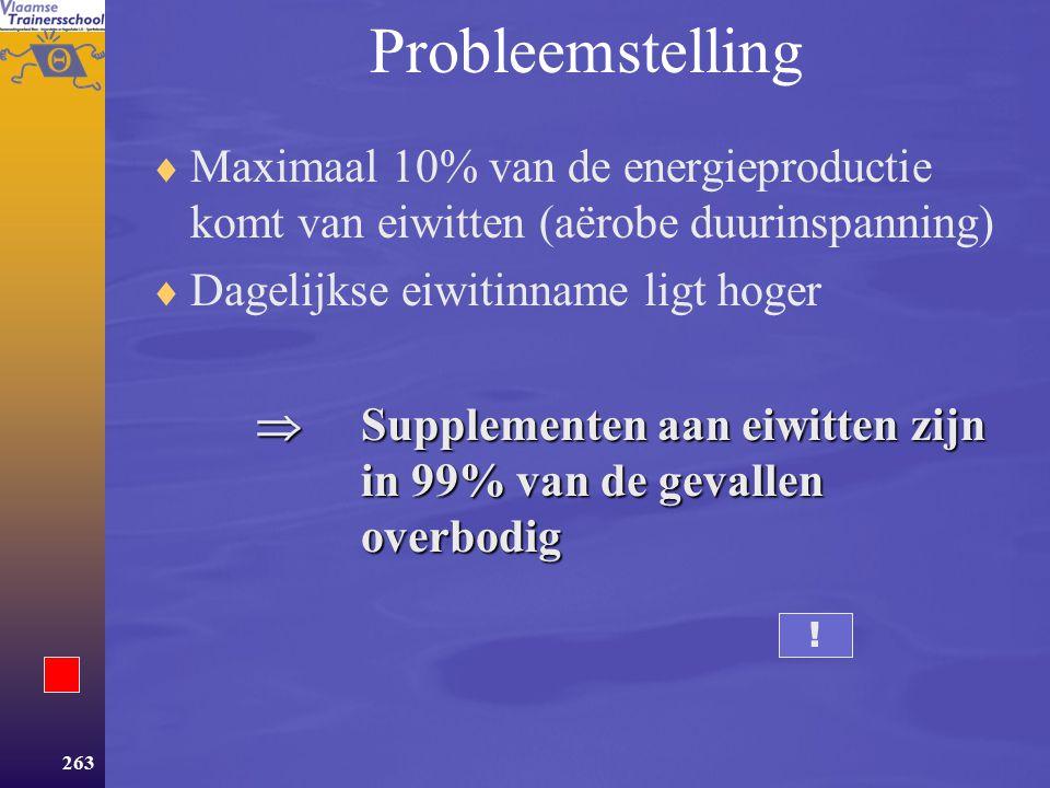Probleemstelling Maximaal 10% van de energieproductie komt van eiwitten (aërobe duurinspanning) Dagelijkse eiwitinname ligt hoger.