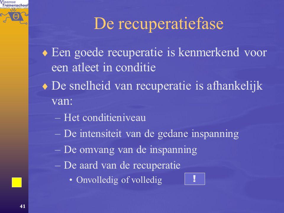 De recuperatiefase Een goede recuperatie is kenmerkend voor een atleet in conditie. De snelheid van recuperatie is afhankelijk van: