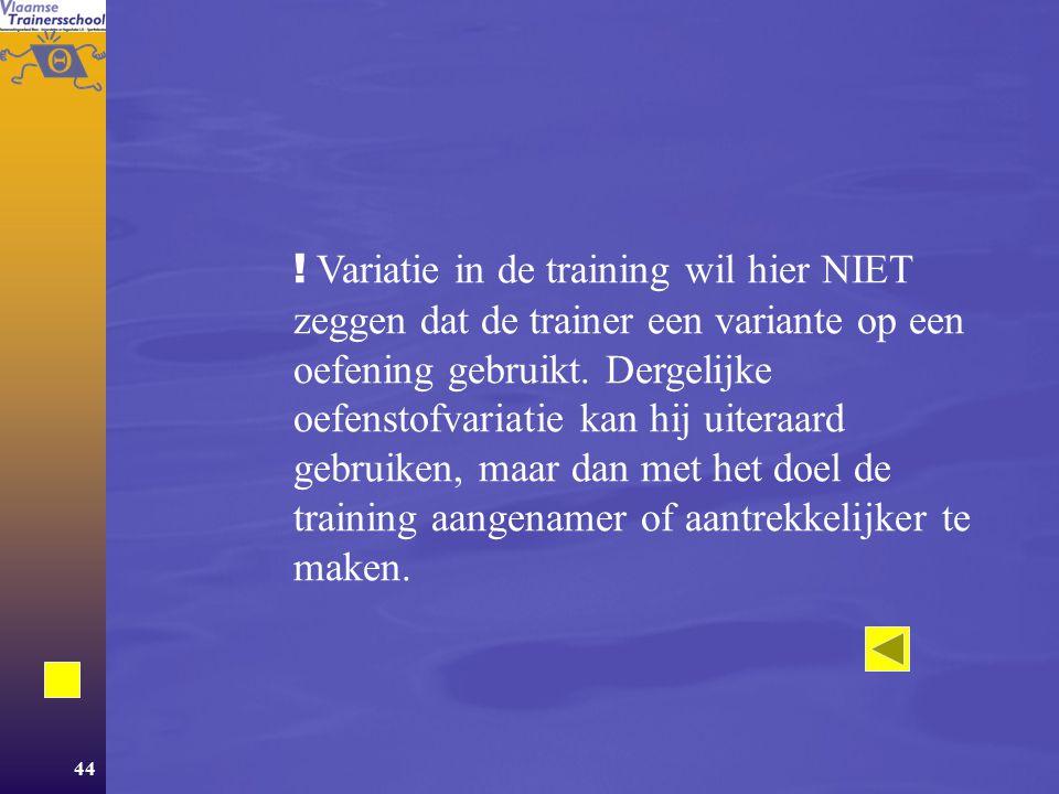 Variatie in de training wil hier NIET zeggen dat de trainer een variante op een oefening gebruikt.