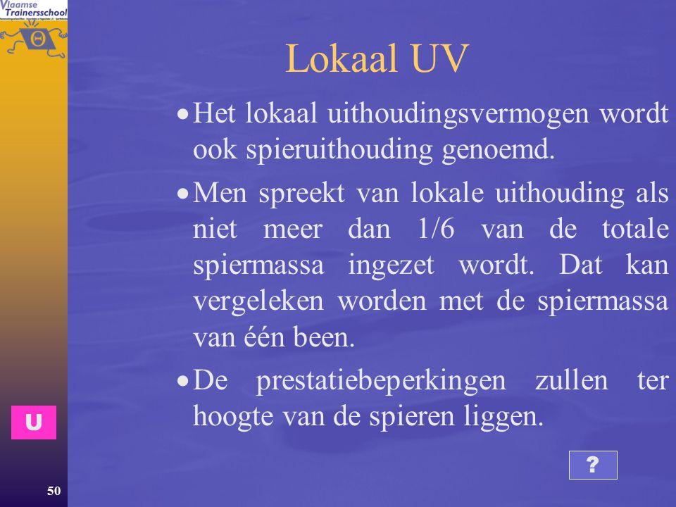 Lokaal UV Het lokaal uithoudingsvermogen wordt ook spieruithouding genoemd.
