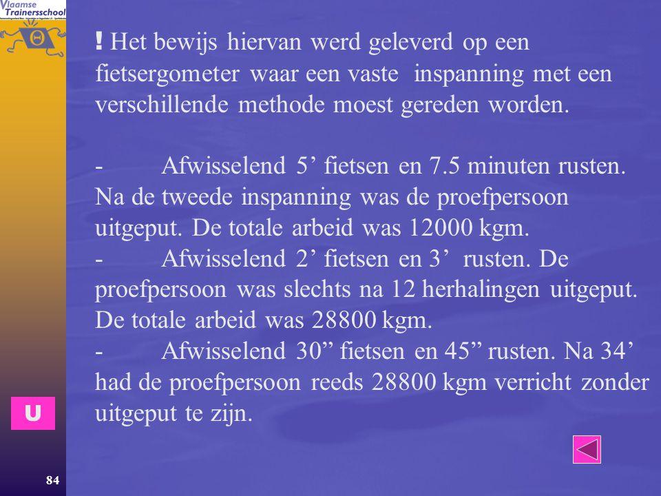 ! Het bewijs hiervan werd geleverd op een fietsergometer waar een vaste inspanning met een verschillende methode moest gereden worden. - Afwisselend 5' fietsen en 7.5 minuten rusten. Na de tweede inspanning was de proefpersoon uitgeput. De totale arbeid was 12000 kgm. - Afwisselend 2' fietsen en 3' rusten. De proefpersoon was slechts na 12 herhalingen uitgeput. De totale arbeid was 28800 kgm. - Afwisselend 30 fietsen en 45 rusten. Na 34' had de proefpersoon reeds 28800 kgm verricht zonder uitgeput te zijn.
