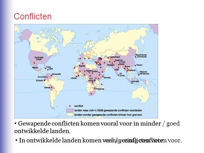 Conflicten Gewapende conflicten komen vooral voor in minder / goed ontwikkelde landen.