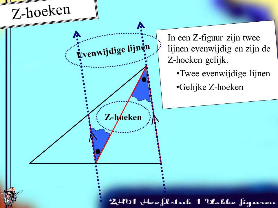 Z-hoeken Evenwijdige lijnen. In een Z-figuur zijn twee lijnen evenwijdig en zijn de Z-hoeken gelijk.