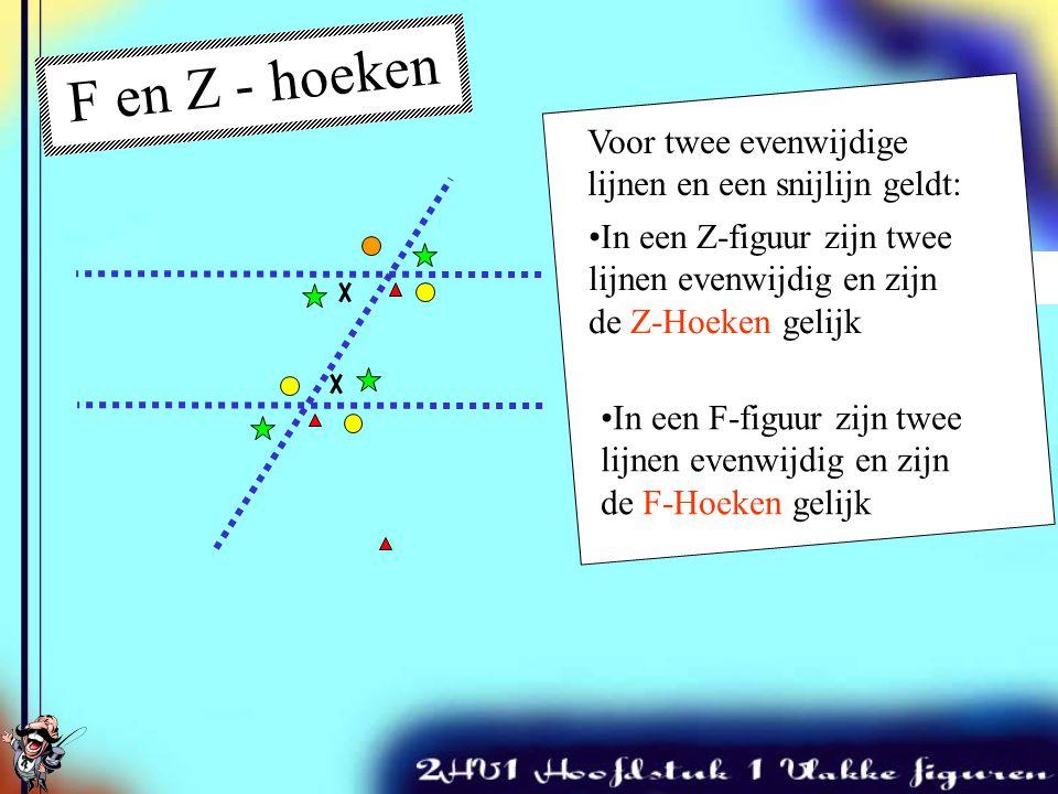 F en Z - hoeken Voor twee evenwijdige lijnen en een snijlijn geldt:
