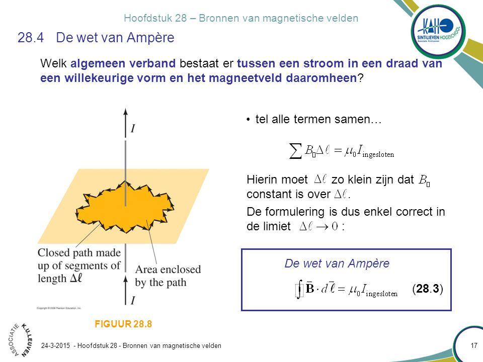 28.4 De wet van Ampère Welk algemeen verband bestaat er tussen een stroom in een draad van een willekeurige vorm en het magneetveld daaromheen