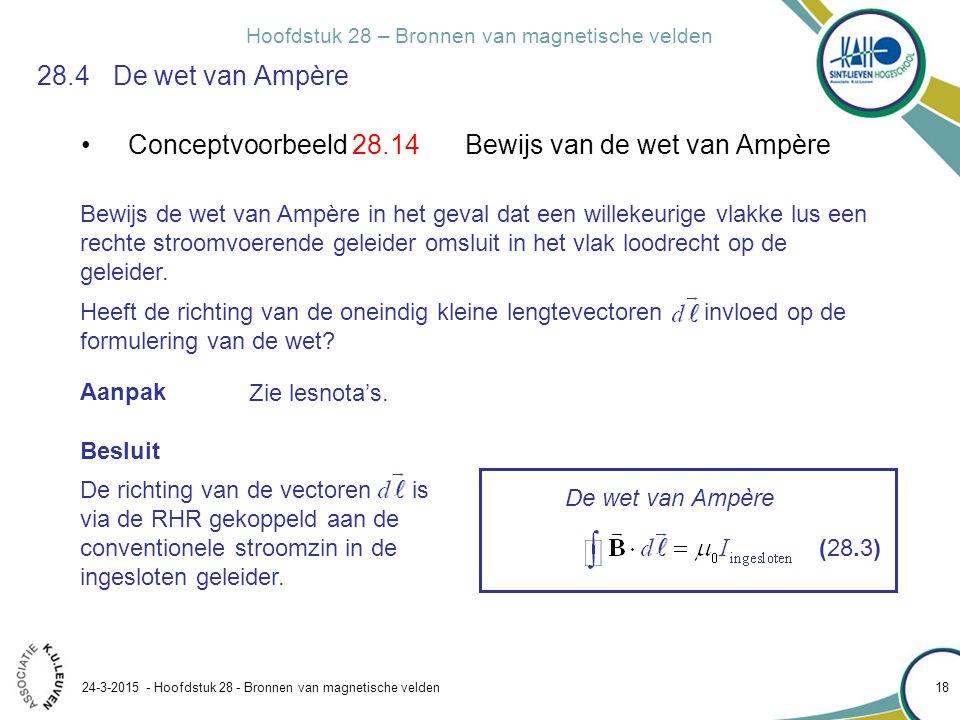 Conceptvoorbeeld 28.14 Bewijs van de wet van Ampère
