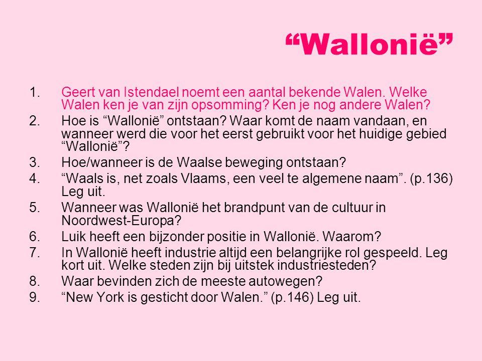 Wallonië 1. Geert van Istendael noemt een aantal bekende Walen. Welke Walen ken je van zijn opsomming Ken je nog andere Walen