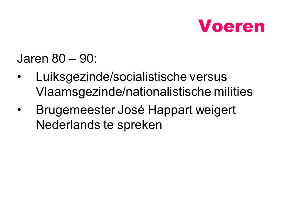 Voeren Jaren 80 – 90: Luiksgezinde/socialistische versus Vlaamsgezinde/nationalistische milities.