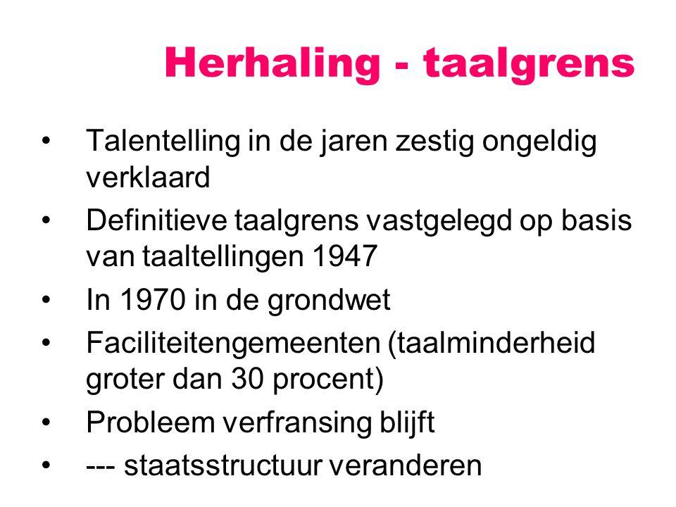 Herhaling - taalgrens Talentelling in de jaren zestig ongeldig verklaard. Definitieve taalgrens vastgelegd op basis van taaltellingen 1947.