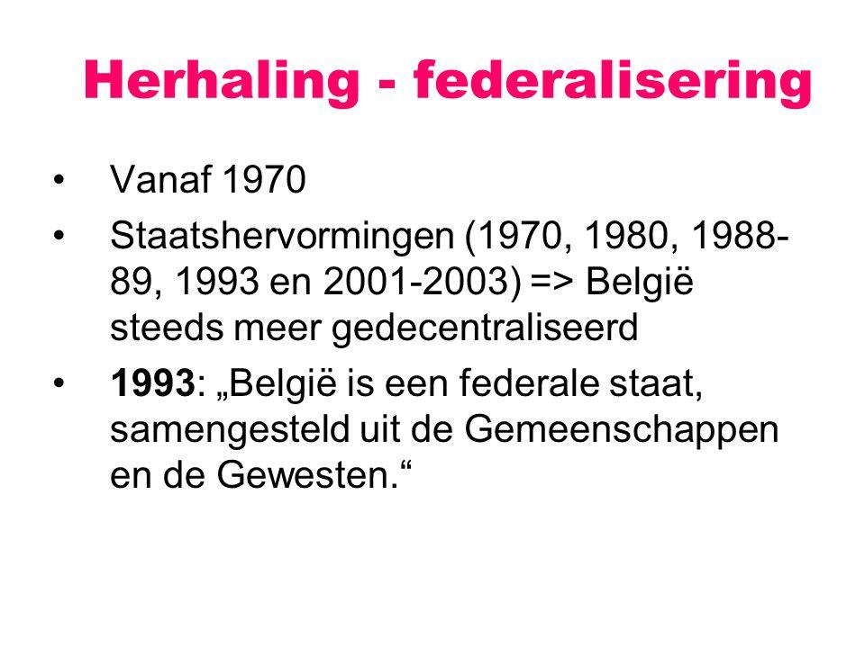 Herhaling - federalisering