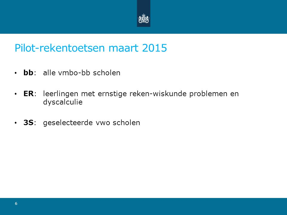 Pilot-rekentoetsen maart 2015