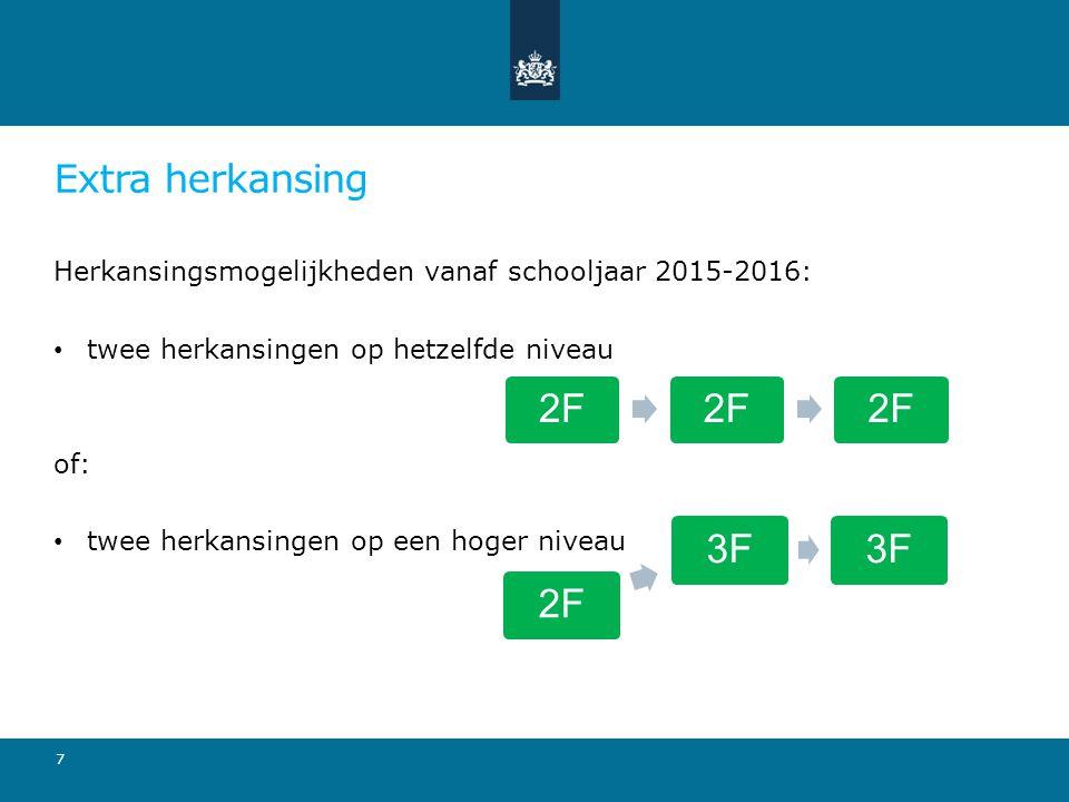 Extra herkansing Herkansingsmogelijkheden vanaf schooljaar 2015-2016: twee herkansingen op hetzelfde niveau.