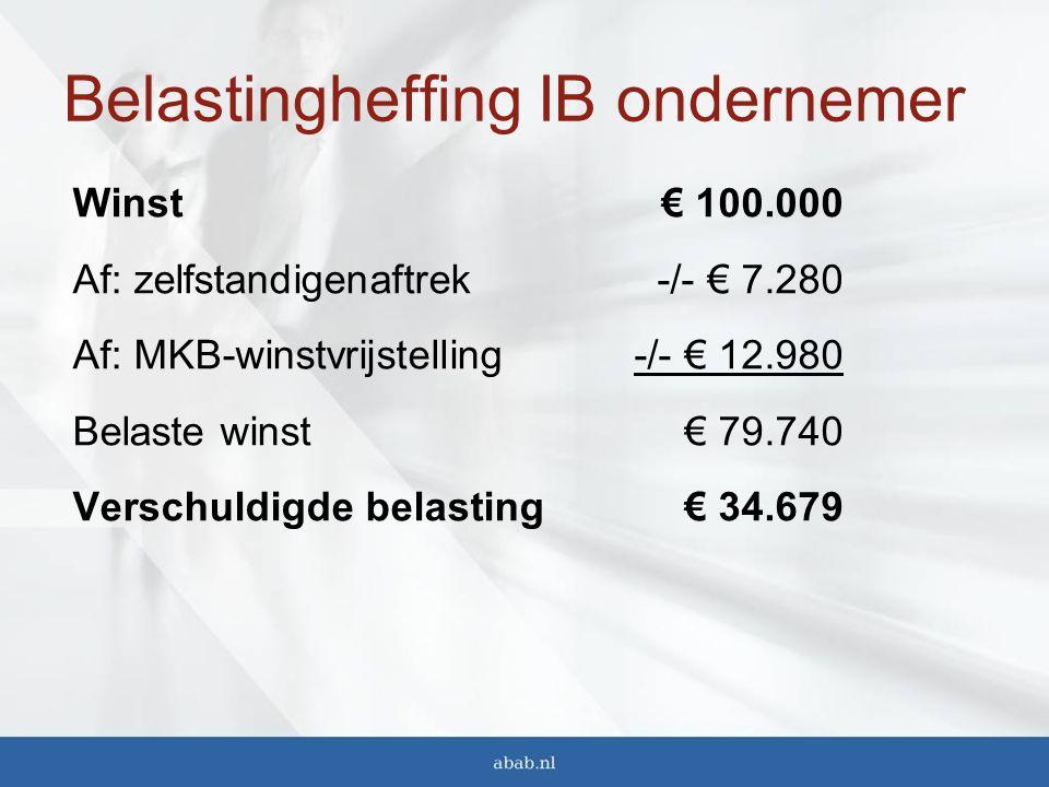 Belastingheffing IB ondernemer