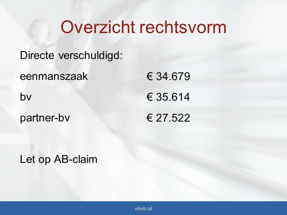 Overzicht rechtsvorm Directe verschuldigd: eenmanszaak bv partner-bv