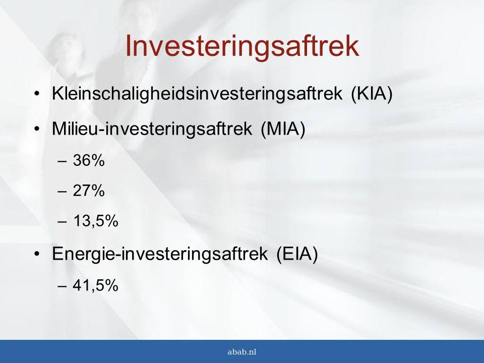Investeringsaftrek Kleinschaligheidsinvesteringsaftrek (KIA)