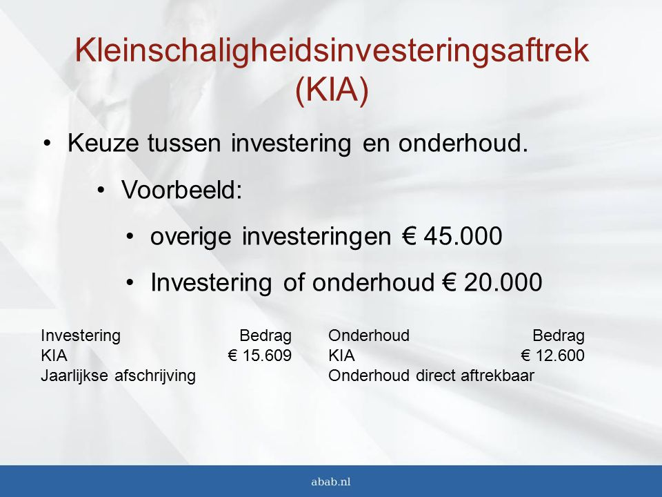 Kleinschaligheidsinvesteringsaftrek (KIA)