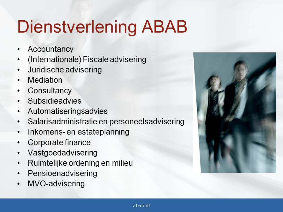 Dienstverlening ABAB Accountancy (Internationale) Fiscale advisering